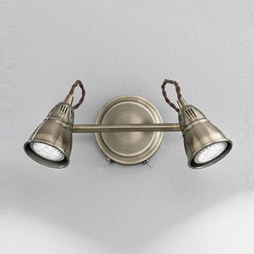 Fran TOPS8952 Rustica 2 Light Bronze LED Wall Spotlight